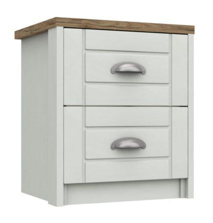 An Image of Kielder 2 Drawer Bedside Table - White