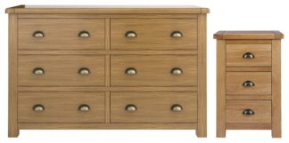 An Image of Habitat Kent Bedside & 3+3 Drawer Set - Oak & Oak Veneer