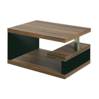 An Image of Geno Side Table In Walnut With Black Gloss