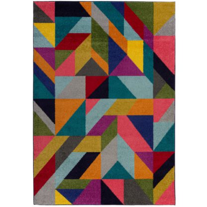 An Image of Frida Geometric Rug Blue, Yellow and Pink