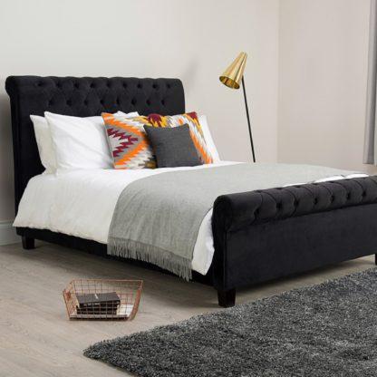 An Image of Orbit Black Velvet Upholstered Bed Frame Black