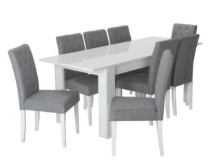 An Image of Habitat Miami Extending Table & 8 Button Chairs - Grey