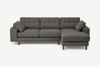 An Image of Content by Terence Conran Tobias Right Hand Facing Chaise End Sofa, Charcoal Grey Boucle with Dark Wood Leg