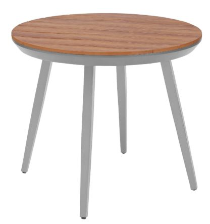 An Image of Argos Home Polywood Round 4 Seater Table - Grey