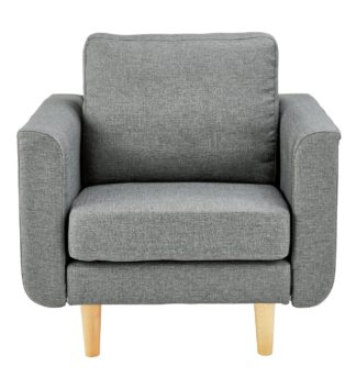 An Image of Argos Home Remi Fabric Armchair in a Box - Light Grey