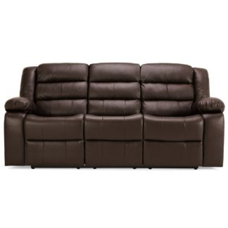 An Image of Whitfield 3 Seater Leather Reclining Sofa Brown
