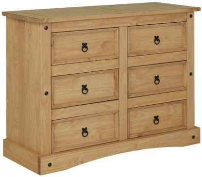 An Image of Argos Home Puerto Rico 3+3 Drw Chest of Drawers - Light Pine