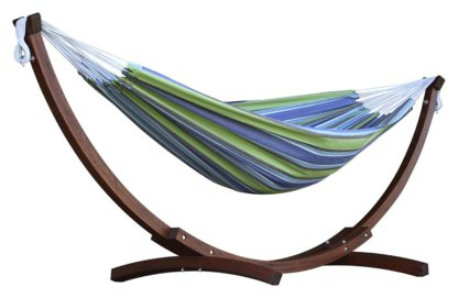 An Image of Vivere Double Cotton Hammock With Wooden Stand - Oasis