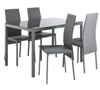 An Image of Argos Home Lido Glass Dining Table & 4 Grey Chairs