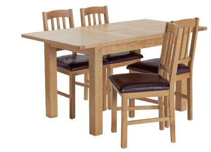 An Image of Habitat Ashwell Oak Veneer Extending Table & 4 Chairs