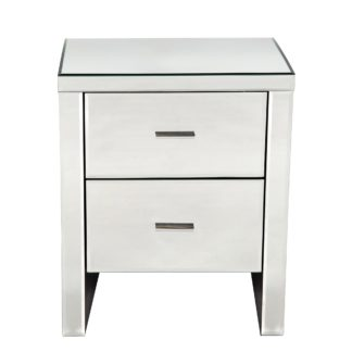 An Image of Venetian Mirrored 2 Drawer Bedside Table White