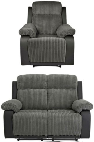 An Image of Argos Home Bradley Chair & 2 Seater Recliner Sofa - Charcoal