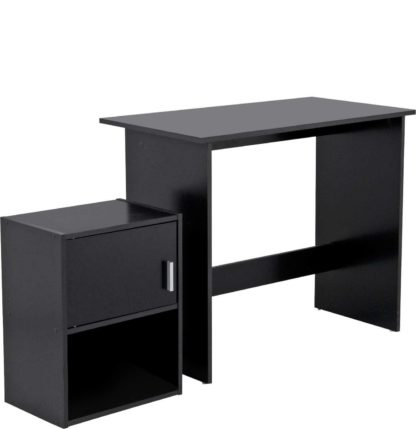 An Image of Habitat Soho Office Desk and Cabinet Package - Black