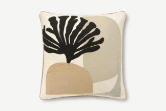 An Image of Onadowan Embroidered Printed Cushion, 50 x 50cm, Neutral