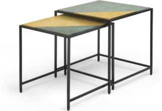 An Image of Elnaz Set of 2 Nesting Side Tables, Brass and Green Marble