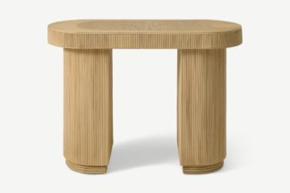 An Image of Azrou Oval Console Table, Natural Cane