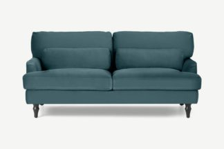 An Image of Tamyra 2 Seater Sofa, Steel Blue Velvet