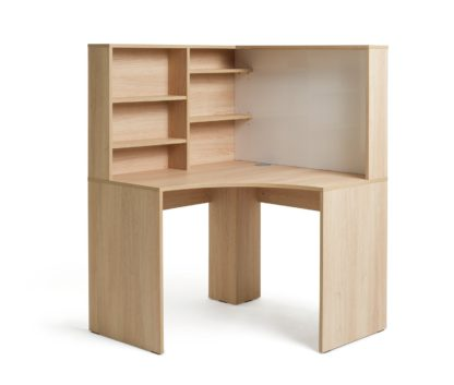 An Image of Habitat Pepper Corner Desk - Oak Effect