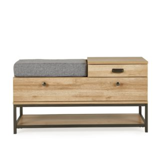 An Image of Fulton Oak Effect Storage Bench Brown and Grey