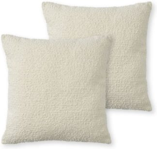 An Image of Teddy Set of 2 Boucle Cushions, 50 x 50cm, Whitewash