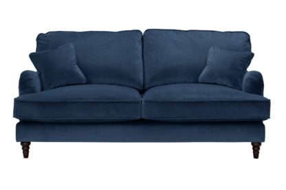 An Image of Habitat Matilda 3 Seater Velvet Sofa - Blue