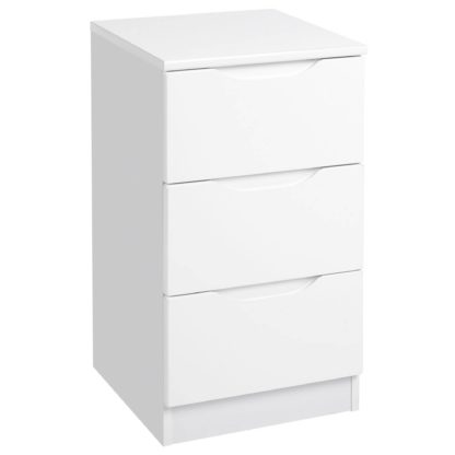 An Image of Legato White Gloss 3 Drawer Bedside Table White