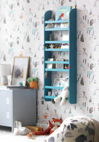An Image of Habitat Scandinavia Kids 4 Shelf Wall Bookcase - Blue