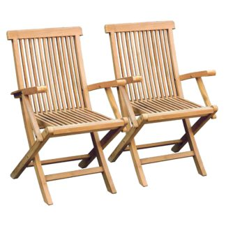An Image of Set of 2 Teak Wooden Folding Armchairs Brown