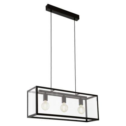 An Image of Eglo Charterhouse 3L Bar Pendant Light - Black