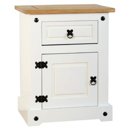 An Image of Corona 1 Drawer Bedside Table White