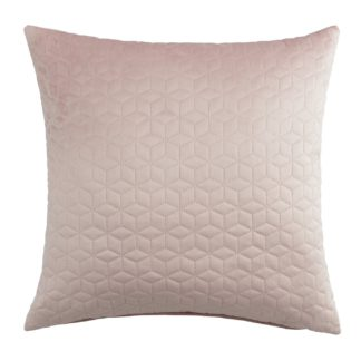 An Image of Argos Home Velvet Pinsonic Luxe 50x50cm Cushion - Blush Pink
