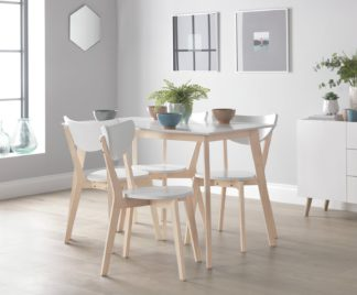 An Image of Habitat Harlow Dining Table & 4 Chairs - White