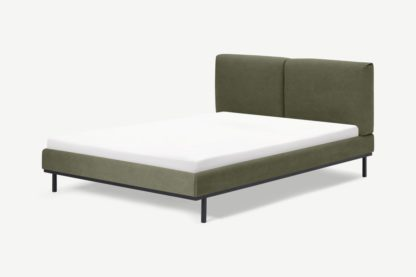 An Image of Perri Double Bed, Forest Green Cotton