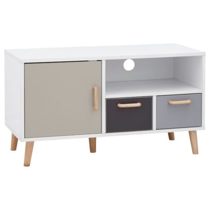 An Image of Delta 1 Door 2 Drawer Small TV Unit - Grey & White
