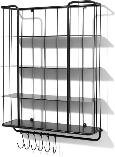 An Image of Moss 4-Tier Wall-Mounted Storage Shelf, Extra Large, Black