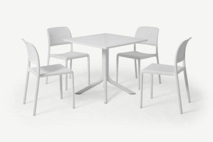 An Image of Nardi 4 Seat Dining Set, White Fibreglass & Resin