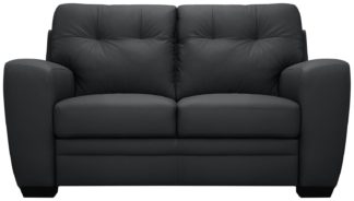 An Image of Argos Home Raphael Compact 2 Seater Leather Mix Sofa - Black
