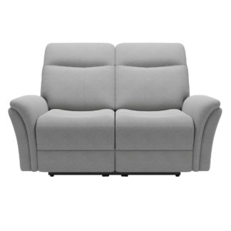 An Image of Monte Chenille Reclining 2 Seater Sofa Light Grey