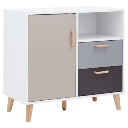 An Image of Delta Compact 1 Door 2 Drawer Sideboard - White & Grey