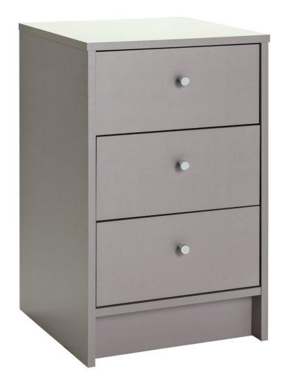 An Image of Habitat Malibu 3 Drawer Bedside Table - Grey