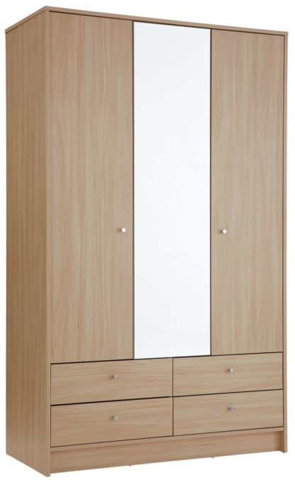 An Image of Habitat Malibu 3 Door 4 Drawer Mirror Wardrobe - Grey