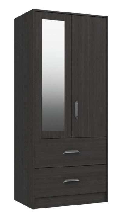 An Image of Ashdown 2 Door 2 Drawer Wardrobe - Dark Grey