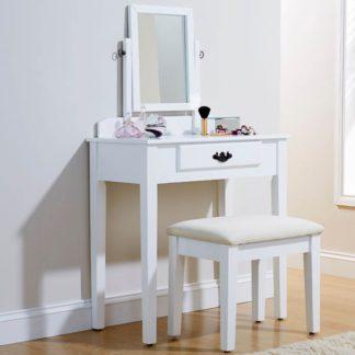 An Image of Shaker Dressing Table Set White