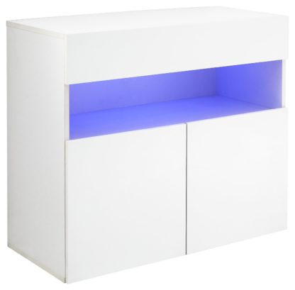 An Image of Galicia 3 Door Wall Mounted LED Sideboard - White