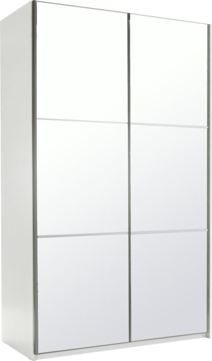 An Image of Habitat Holsted Mirrored Small Wardrobe - White