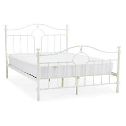 An Image of Keswick Cream Metal Bed Frame Cream