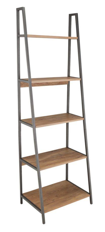 An Image of Habitat Nomad 5 Shelf Leaning Shelving Unit - Oak Effect