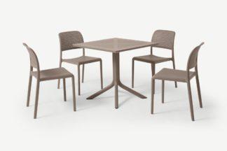 An Image of Nardi 4 Seat Dining Set, Light Grey Fibreglass & Resin