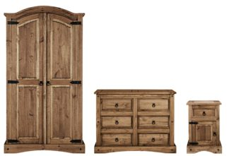 An Image of Argos Home Puerto Rico 3 Piece Wardrobe Set - Dark Pine