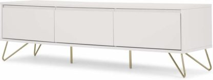 An Image of Elona Wide Media Unit, Ivory White & Brass